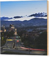 Boise Skyline In Early Morning Hours Wood Print