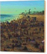 Bokeh Beach Wood Print