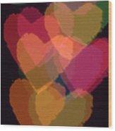 Bokeh Hearts 1 Wood Print