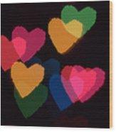 Bokeh Hearts 3 Wood Print