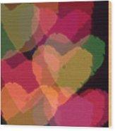 Bokeh Hearts 4 Wood Print