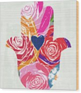 Bold Floral Hamsa- Art By Linda Woods Wood Print