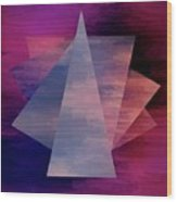 Bold Fuchsia And Blue Triangles Wood Print