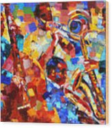 Bold Jazz Quartet Wood Print