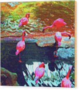 Bold Modified Flamingoes Wood Print