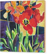 Bold Quilted Tulips Wood Print