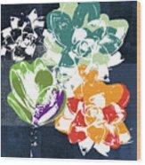 Bold Succulents 1- Art By Linda Woods Wood Print