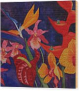 Bold Tropical Flowers Wood Print