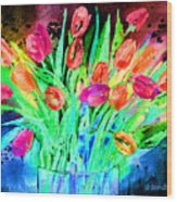 Bold Tulips Wood Print