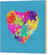 Bold Watercolor Heart - Tee Shirt Design Wood Print