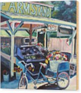 Bolinas Farmstand Bike Wood Print by Colleen Proppe