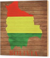 Bolivia Rustic Map On Wood Wood Print