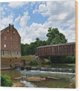 Bollinger Mill And Covered Bridge Wood Print