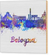 Bologna Skyline In Watercolor Wood Print