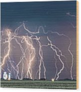 Bolts Over Bushland Wood Print