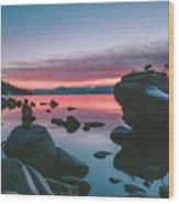 Bonsai Rock Sunset Wood Print