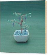 Bonsai Wire Tree Sculpture Beaded Grape Gems      Wood Print