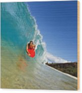 Boogie Boarding At Makena Wood Print