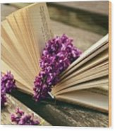 Book And Flower Wood Print