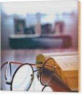 Book And Glasses Wood Print