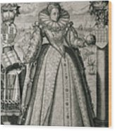 Book Frontispiece Celebrating Queen Elizabeth I's Happy And Prosperous Reign Wood Print