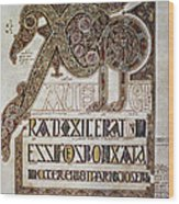 Book Of Lindisfarne Initial Wood Print