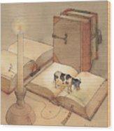 Bookish Cow Wood Print by Kestutis Kasparavicius