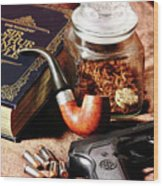 Books And Bullets Wood Print by Barry Jones
