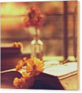 Books And Flowers Wood Print