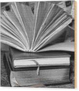 Books In Black And White Wood Print