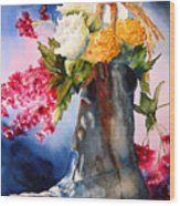 Boot Bouquet Wood Print