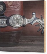 Boot Heel With Texas Spur Wood Print