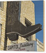 Boot Sign Wood Print by Mark Weaver