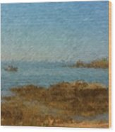 Boothbay Calm Day Ocean View Wood Print