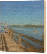 Boothbay Front Ocean View At Sunrise Wood Print