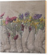 Boots And Flowers Wood Print