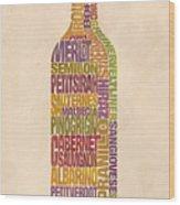 Bordeaux Wine Word Bottle Wood Print by Mitch Frey
