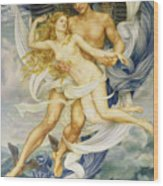 Boreas And Oreithyia Wood Print by Evelyn De Morgan