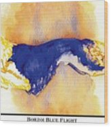 Borzoi Blue Flight Wood Print
