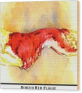 Borzoi Red Flight Wood Print