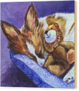 Bos And The Lion - Papillon Wood Print by Lyn Cook