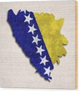 Bosnia And Herzegovina Map Art With Flag Design Wood Print