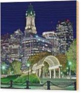Boston Above Christopher Columbus Park Wood Print
