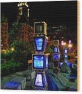 Boston At Night 1 Wood Print