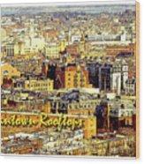 Boston Beantown Rooftops Digital Art Wood Print