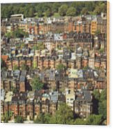 Boston Brownstone Architecture Wood Print