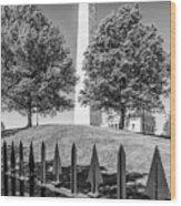 Boston Bunker Hill Monument - Monochrom Wood Print