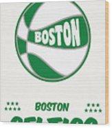 Boston Celtics Vintage Basketball Art Wood Print
