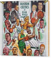 Boston Celtics World Championship Newspaper Poster Wood Print