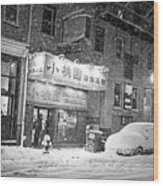 Boston Chinatown Snowstorm Tyler St Black And White Wood Print